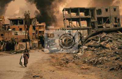 Fototapete Homeless little girl walking in destroyed city that was bombed by the enemy and she's looking for shelter.