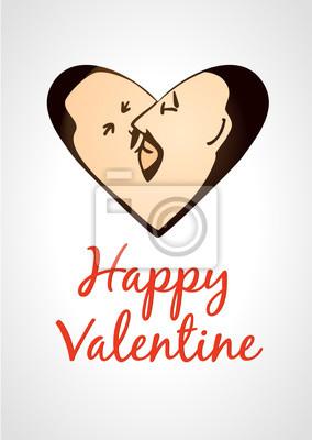 Homosexuell Valentinskarte küssen Männer in Herzform