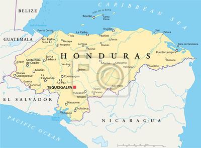 Honduras karte (honduras landkarte) fototapete • fototapeten ...