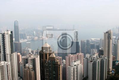 hongkong Bankenviertel coverd in schweren Dunst im Winter