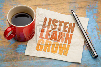 Fototapete Hören Sie, lernen Sie, wachsen Sie Wort abstrakt