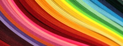 Fototapete Horizontal Abstract vibrant color wave rainbow strip paper background.