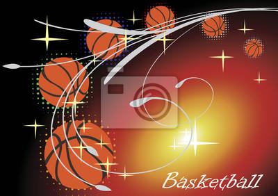 Horizontal basketball banner with stars