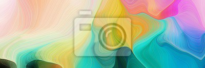 Fototapete horizontal colorful abstract wave background with light sea green, pastel gray and golden rod colors. can be used as texture, background or wallpaper