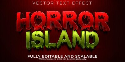 Fototapete Horror island editable text effect, blood and zombie text style