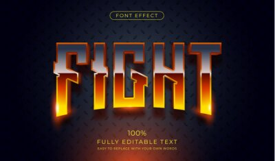 Fototapete Hot Fight text effect. Editable font style