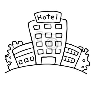 Fototapete Hotel / Cartoon Vektor und Illustration, schwarz und weiß, Hand gezeichnet, Skizze Stil, isoliert auf weißem Hintergrund.