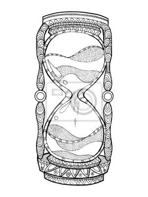 Hourglass Färbung Buch Vektor-Illustration