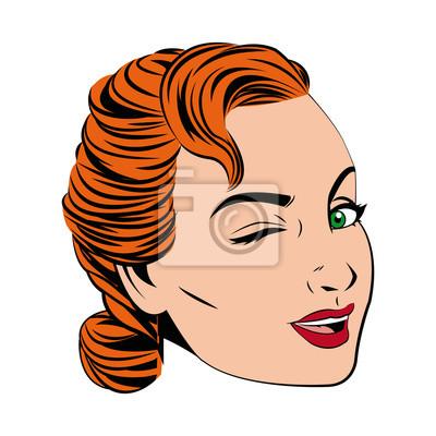 Hubsches Gesicht Frau Frisur Comic Vektor Illustration Fototapete