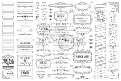 Fototapete Huge collection or set of vector decorative elements for design
