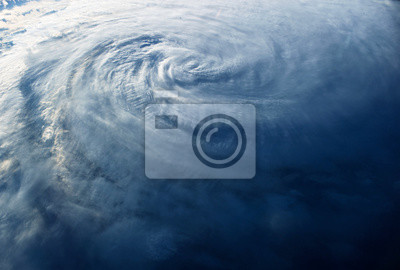 Fototapete Huge typhoon, view from space, from a space station.  Elements of this image were furnished by NASA
