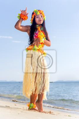 Hula Hawaii Tänzer Tanzen Am Strand Mit Horizont Des Meeres
