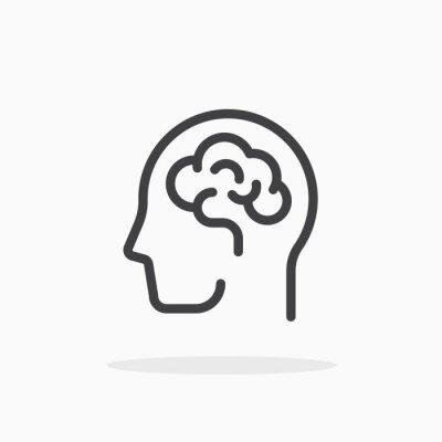 Fototapete Human brain icon in line style. Editable stroke.
