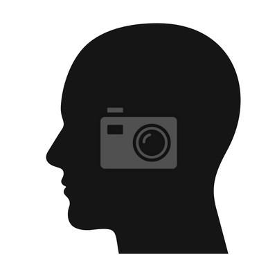 Fototapete Human head profile black shadow silhouette