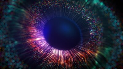 Fototapete Human multicolored iris of the eye animation concept. Rainbow lines after a flash scatter out of a bright white circle and forming volumetric a human eye iris and pupil. 3d rendering background in 4K.