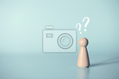 Fototapete Human with a question mark icon on blue background, copy space.