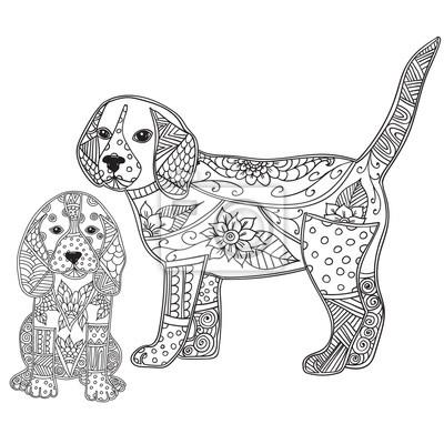 Fototapete Hund Und Welpen Erwachsene Antistress Oder Kinder Malvorlage