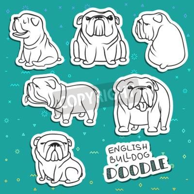 Hunde Zeichen Gekritzelhund Aufkleber Hund Englisch Bulldog