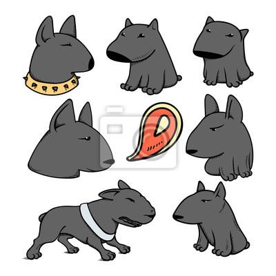Hundezeichen Pitbull Lustige Tierkarikatur Gekritzelhund