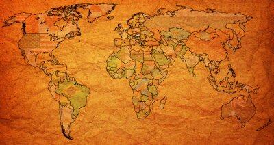 Fototapete hungary territory on world map