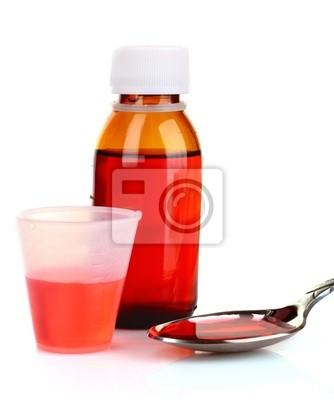 Hustenmittel mit Flasche gegossen Dosis auf counter