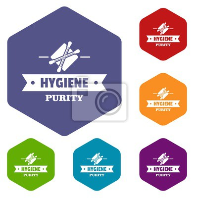 Hygiene ear icons vector colorful hexahedron set collection isolated on white