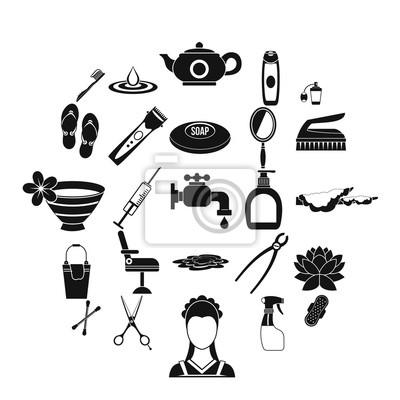Hygiene-Icons gesetzt. Einfacher Satz von 25 Hygienevektorikonen für das Netz lokalisiert auf weißem Hintergrund