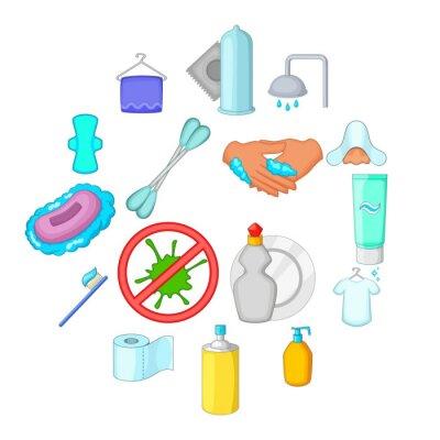 Hygiene-Icons gesetzt. Karikaturillustration von 16 Hygieneartikel-Vektorikonen für Netz