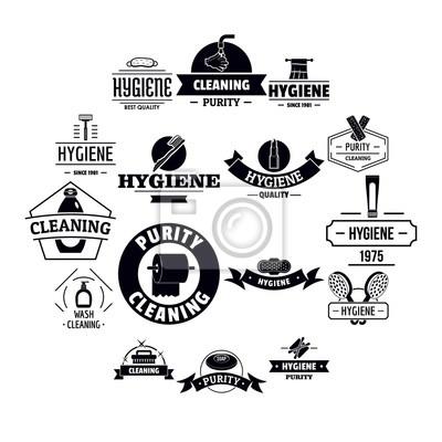 Hygiene-Logo-Icons gesetzt. Einfache Illustration von 16 Hygienelogo-Vektorikonen für Netz