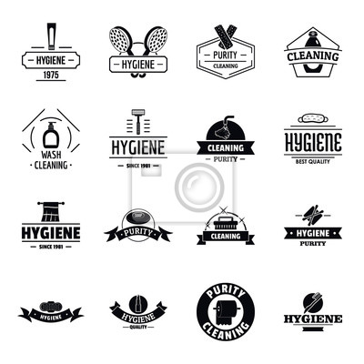 Fototapete Hygiene Logo Icons Set, einfachen Stil
