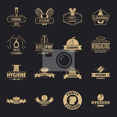Hygiene logo icons set. Simple illustration of 16 hygiene logo vector icons for web