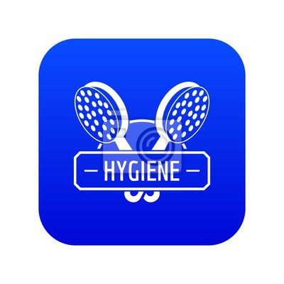 Hygiene shower icon blue vector isolated on white background