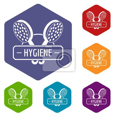 Hygiene shower icons vector colorful hexahedron set collection isolated on white
