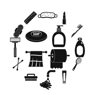 Hygiene-Werkzeugikonen eingestellt. Einfache Illustration von 16 Hygienehilfsmittelvektorikonen für Netz