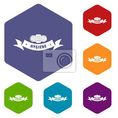 Hygiene wound icons vector colorful hexahedron set collection isolated on white