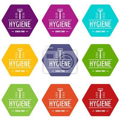 Hygienegesichtsikonen stellten Vektor 9 ein
