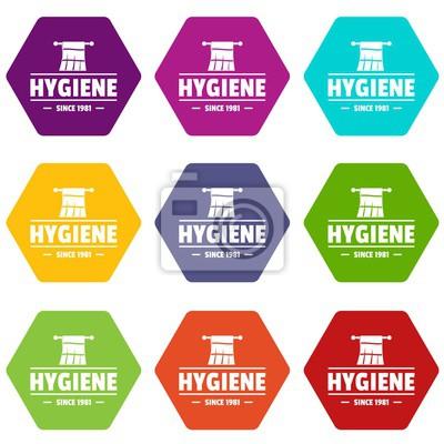Hygienemorgenikonen stellten Vektor 9 ein