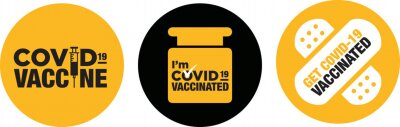 Fototapete I'm Covid-19 vaccinated icon signage