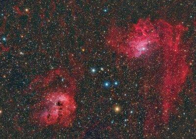 IC 405 Flaming Star nebula and IC 410 nebula