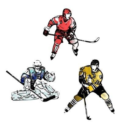 Fototapete ice hockey players vector illustrations