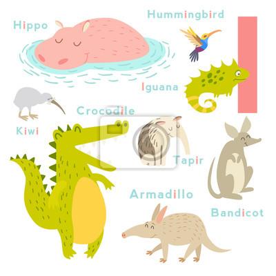 Ich Buchstabe Tiere gesetzt. Englisches Alphabet. Vektor-Illustration, isoliert auf weißem Hintergrund