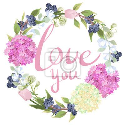 Ich liebe dich. beschriftung auf dem hintergrund eines kranzes ...