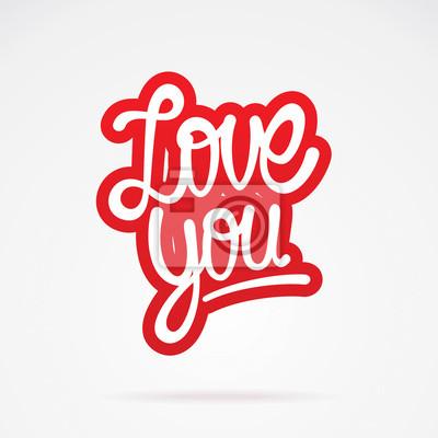 Ich liebe dich Hand Schriftzug. Vektor