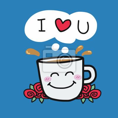 Fototapete Ich Liebe Dich Kaffeetasse Und Rosen Cartoon Vektor Illustration