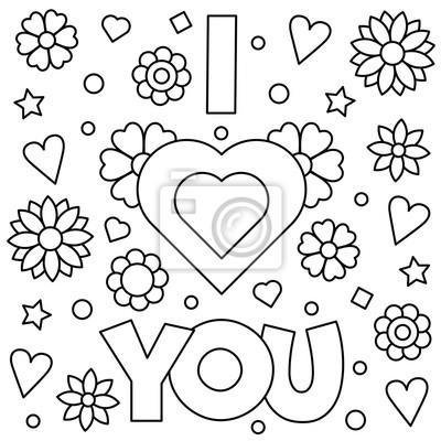 Ich liebe dich. malvorlage. vektor-illustration. fototapete ...