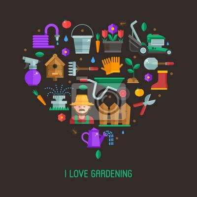 Fototapete Ich Liebe Gartenarbeit Karte Mit Landschaftsbau Und Gartenbau  Symbole Stilisiert Im Herzen. Wachsende Pflanzen