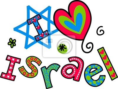 Ich liebe Israel Cartoon Doodle Text