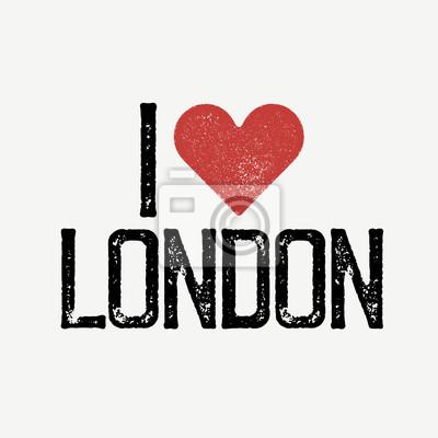 """""""Ich liebe London"""" Text mit rotem Herz. T-Shirt Druck Design-Vorlage. Vektor-Illustration. Isoliert auf weißem Hintergrund."""