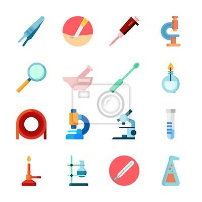 Icon labor mit kondensator, labor, brenner, mikroskop und labor ...