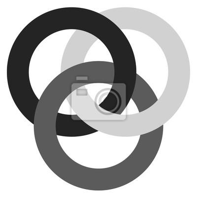 Icon mit 3 ineinandergreifenden kreisen. ringe. abstraktes symbol ...